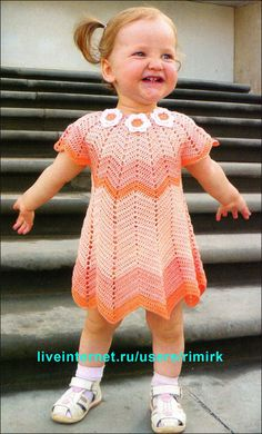 chevron crocheted baby dress
