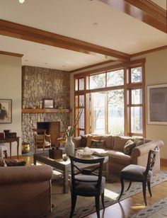 Oak Trim, neutral colors, fireplace