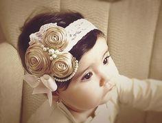 Ivory/Caramel/stone  Vintage Headband/Child by Daniellasjewels, $14.95