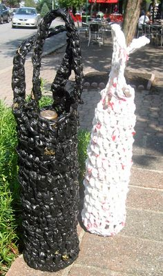 Plarn Wine Bottle Tote- Crocheted Plarn Tote Bag- Plastic Bag Yarn.