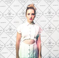 Zoe Lister Jones in a Wren cut out shirt dress at @refinery29 country club party