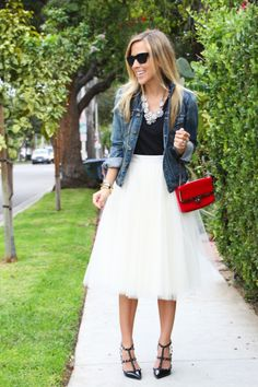Tulle Skirt and denim jeans.... I LOVE the whole outfit!
