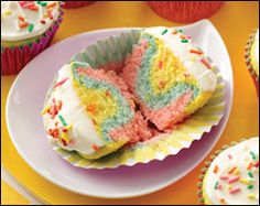 Cupcakes Tie Dye For! (Must-See Recipe)  Serving Size: 1 frosted cupcake (1/12th of recipe) Calories: 135 Fat: 3g Sodium: 231mg Carbs: 25g Fiber: <0.5g Sugars: 15g Protein: 1.5g  PointsPlus® value 4*