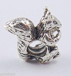 Silver Plate Squirrel European Bead