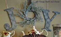 """Joy"" diy christmas decor"