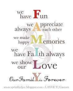Family Mission Statement..love it!