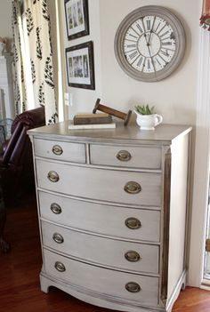 gray dresser & gray clock