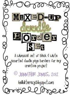 Mixed-Up Doodle Borders - Black/White (Set of 24)