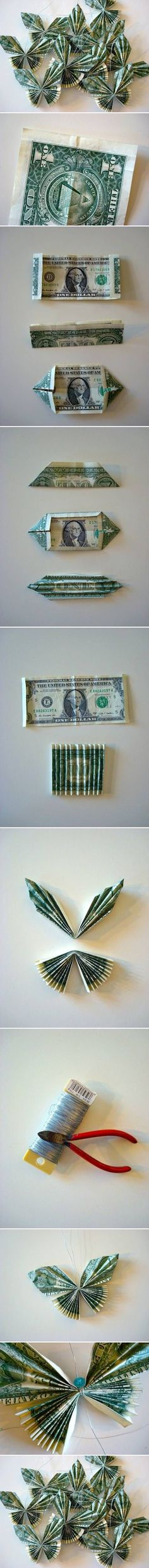 {DIY Dollar Bill Butterfly} gift ideas, paper, origami, bill butterfli, money trees, craft ideas, diy projects, wedding gifts, birthday gifts