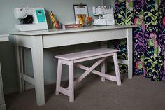 diy with Ana White narrow farmhouse table plan