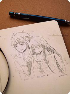 ✮ ANIME ART ✮ anime couple. . .love. . .romance. . .doodle. . .pencil drawing. . .graphite. . .cute. . .fan art. . .kawaii