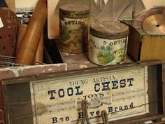 Love my old tool chests and cans.