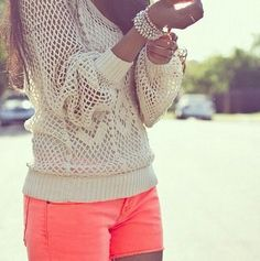 crochet + neon shorts