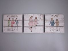 Girl's Room Decor - Dress Patterns - Handpainted Wood Signs