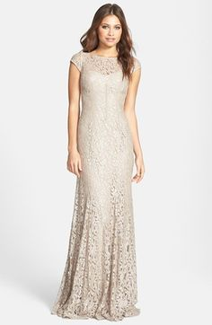 ML Monique Lhuillier Foiled Lace Gown available at #Nordstrom