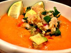 weekend recipe: roasted red pepper soup with quinoa salsa