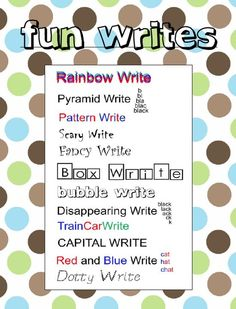 "FREE LANGUAGE ARTS LESSON - ""Fun Writes for Spelling and Word Work"" - Students practice spelling word or sight words is]n a fun way!   Go to The Best of Teacher Entrepreneurs for this and hundreds of free lessons.  http://thebestofteacherentrepreneurs.blogspot.com/2013/03/free-language-arts-lesson-fun-writes.html"