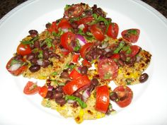 quinoa & corn griddle cakes w/ black bean salsa, nom!!!!