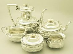 Sterling Silver Five Piece Tea and Coffee Service  - Antique Edward VIII