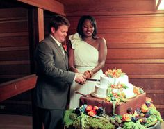 Hubby and I cutting the cake