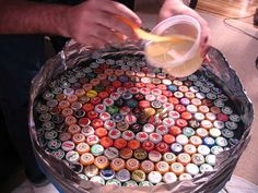 Bottle Cap Table Instructions - the same idea could be used for pop tabs or coasters; etc.