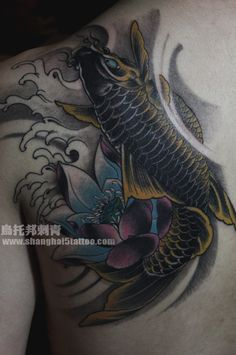 #KOI fish #tattoo and lotus flower tattoo
