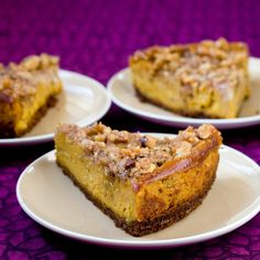 Vegan Pumpkin Cheesecake With Pecan Crunch Topping: