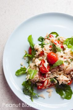 Tiffany from Peanut Blossoms shares her delicious and yummy Lemony Orzo Tomato and Arugula Salad