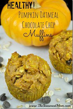 Healthy Pumpkin Oatmeal Chocolate Chip Muffins