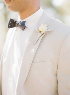 Dotted bow tie with a tan suite..