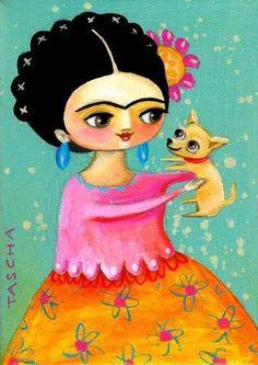 Frida Kahlo Chihuahua puppy folk art PRINT of an by tascha on Etsy