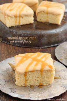 Soft and tender caramel yogurt cake topped with a rich silky caramel frosting.