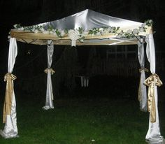 Here's  a DIY tutorial for building your own wedding canopy, mandap, chuppah, or whatever your fancy needs!
