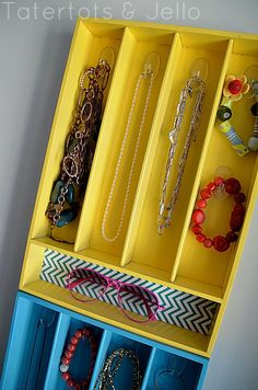 Colorful Jewelry Organizer Out of Silverware Trays