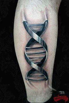 tattoo idea, crazy tattoos, dna, metal, tattoo artists, double helix, the artist, 3d tattoos, tattoo ink
