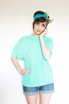 Women's Vintage Soft Teal Aqua Short Sleeve Sweater by MOUK, $18.00