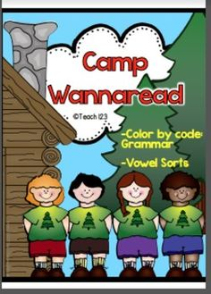 Camp themed (easy prep) grammar color-by-code and vowel sorts are a fun way to review important skills. Grammar skills include: -homophones -plural nouns -contractions -synonyms -antonyms -abbreviations -long vowels -blends #Grammar #phonics $