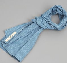 Made in Jersey! N70-152 - LIGHT BLUE GRID LARGE SCARF :: HICKOREE'S