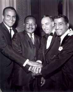 """Harry Belafonte, Martin Luther King Jr., theater and film producer Hillard Elkins and Sammy Davis Jr. in April 1965 at """"Broadway Answers Selma,"""" a show Mr. Hillard produced to raise money for Dr. King. Many thanks to Kanisha Johnson, the patron saint of Dorothy Dandridge online (see DorothyDandridgeForever.com) for bringing this picture to my attention. Photo: Bandphoto Agency."""