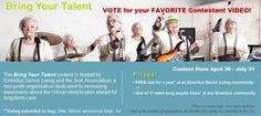 Senior living residents participate in a talent contest!~ Voting is open through August, 2012! C/O Emeritus Senior Living.