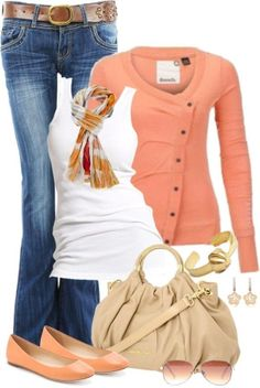 Casual & Classy Coral & White Outfit <3