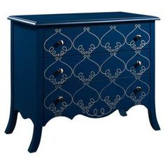 """Add an eye-catching touch to your entryway or living room with this 3-drawer wood chest, showcasing a hand-painted scroll motif and scalloped apron.   Product: ChestConstruction Material: Wood and metalColor: Ultramarine blue and silver Features:Hand-painted scrolling detailsScalloped apronThree drawersSatin nickel button hardwareSplayed legs Dimensions: 32"""" H x 38"""" W x 18"""" D"""