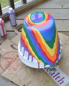 In Lieu of Preschool: Something Borrowed: Rainbow Pour Painting