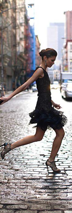 Street fashion Oscar de la Renta little black dress - street style