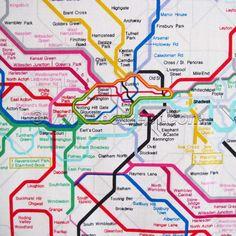 London METRO Underground Tube Network Map Fabric 1 Yard United Kingdom UK Train SUBWAY - More Yardage Available. $9.99, via Etsy.