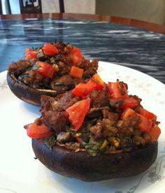 Paleo Stuffed Portobello Mushroom with Tomato, Basil, and Sausage