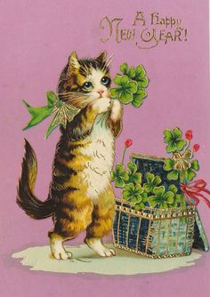 vintage new year's  cat
