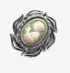 Vintage Cameo Pin / Brooch, Silver / Green