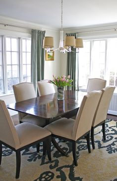 Transitional Dining Room in beige and gray/ blue