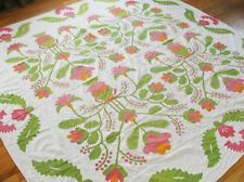 dtd 1857 Antique Urns Flowers & Stuffed Berries Quilt Coverlet Pre Civil War, eBay, vintageblessings